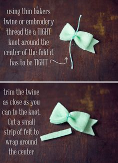How to make felt hair bows.  Um, this is insanely easy.  Who knew!?