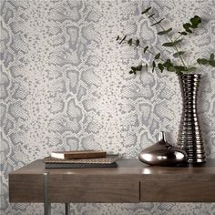 Rasch Mandalay Silver-White Snakeskin Animal Print Feature Wallpaper 281026