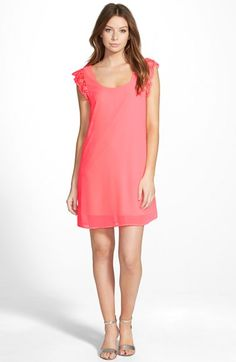 Super cute!!! Way-In Crochet Trim Shift Dress available at #Nordstrom