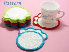 Crochet Paw Coasters Pattern Tutorial pattern Easy by PatternsDG
