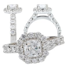 18k lab-created 6mm cushion cut moissanite engagement ring with natural diamond halo