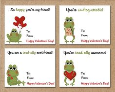 Printable Valentines Day Cards / Frog / INSTANT DOWNLOAD Digital File
