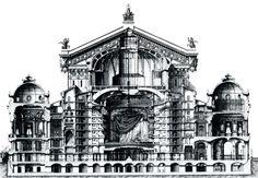 vestiaire de l'opera garnier | coupe transversale de l'Opéra, plan de Charles Garnier