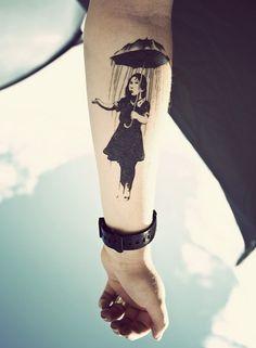 Funny Rain Tattoo Ideas: Nature Rain Tattoo Design For Men On Arm ~ Tattoo Design Inspiration