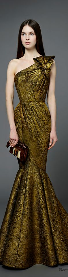 White and Gold Wedding. Gold Bridesmaid Dress. Elegant and Glamorous. Andrew Gn ● Pre-Fall 2014
