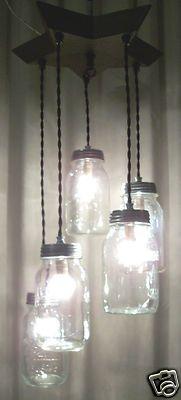 Primitive 5 Mason Jar Light Chandelier 1 OFA Kind Beautiful Wood Star Plate | eBay