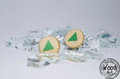 Triangle Studs Geometric Studs Lime Green Studs by TheWoodArtShop Wood Post, Wood Earrings, Earring Backs, Studs, Triangle, Lime, Hand Painted, Unique, Green