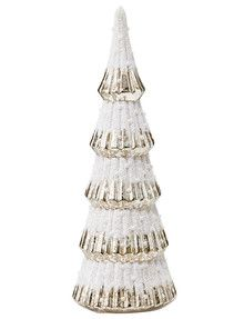 $49.99 Farmers Home Of Christmas Table Top Tree Glass LED with Pearl & White Frost product photo