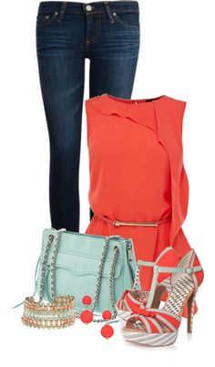 A fashion look from April 2013 featuring coral shirt, AG Adriano Goldschmied and t-strap sandals. Browse and shop related looks. New Outfits, Stylish Outfits, Spring Outfits, Cute Outfits, Fashion Outfits, Womens Fashion, Formal Outfits, Stylish Eve, Work Fashion