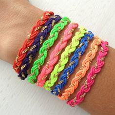 Neon Braided Bracelets - easily imitate