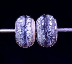 Silvers Kiss Pair Handmade Lampworked Glass Bead OOAK by ninaeagle, $10.00
