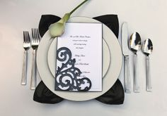 Michaels.com Wedding Department: Black and White Wedding Invitation pGive your celebration classic sophistication. Dress up Celebrate It™ invites with a black scroll pocket and Martha Stewart Crafts™ Stick On Pearls. /p