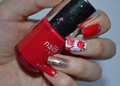 Unpretty girl who does nail art. #nails #nail #nailpolish #nailart #nailsinc #red #pink #purple #white #gold #dots #flowers #leaves #glitters
