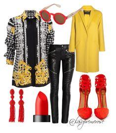 """Fashion District"" by lasupremerose ❤ liked on Polyvore featuring Versace, Yves Saint Laurent, Cédric Charlier, Shoe Cult, Zanzan, NARS Cosmetics and Oscar de la Renta"
