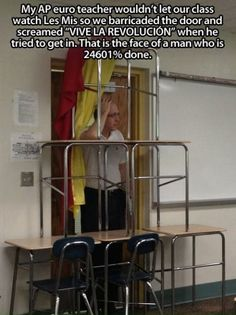 Haha, we also did this to our French teacher when she tried to give us homework. It stalled long enough until the bell rang.