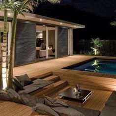 Awesome Mediterranean Deck Designs For The Summer is part of Outdoor bathtub - As a Landscape Designer, I'm often asked for tips and advice on outdoor living and garden design The single biggest […] Backyard Pool Designs, Backyard Patio, Backyard Ponds, Diy Deck, Building A Deck, Modern Exterior, Exterior Design, Design Case, Patio Design