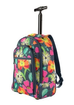 5ff656d3e293 Rolling Back Pack in Jazzy Blooms Kids Rolling Backpack