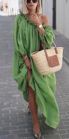 Lace-Up Oblique Collar Lantern Sleeve Plain Womens Maxi Dress - Look Fashion Casual Dresses, Fashion Dresses, Summer Dresses, Loose Dresses, Women's Casual, Green Dress Casual, Modest Outfits, Fall Dresses, Casual Outfits