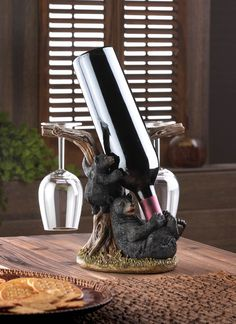 Fun Cabin Decor for Wine Lovers: Rustic Black Bears & Tree Wine Bottle and Wine Glasses Holder Sculpture