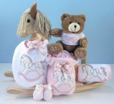 Baby girls poodle layette gifts set with unique rocking horse personalized natural rocking horse girl by baby gift creations 13495 this personalized negle Image collections