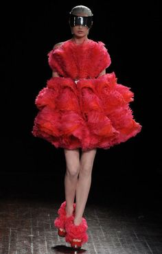 Alexander McQueen At a county fair, I saw a hen that looked something like this, minus the blinders.