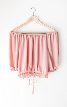 Off the shoulder neckline, Bishop sleeve style. - Description Details: Off-the-shoulder half sleeves crop top in blush featuring an elasticized neckline & self tie accent on the ruffled elasticized hem. Outfits For Teens, Summer Outfits, Casual Outfits, Cute Outfits, Fashion Outfits, Fashion Trends, Cropped Tops, Off Shoulder Crop Top, Outfit Goals