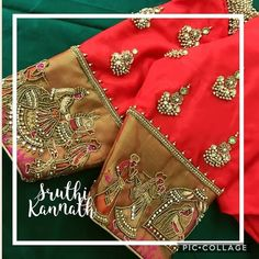 How about a combination of a wedding procession and jewellery on your blouse? Like… – Blouse Wedding Saree Blouse Designs, Pattu Saree Blouse Designs, Silk Saree Blouse Designs, Kerala Saree Blouse, Wedding Blouses, Blouse Patterns, Saree Wedding, Maggam Work Designs, Stylish Blouse Design