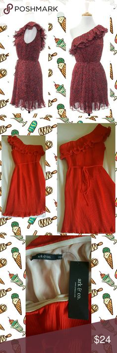 "🎉9/2 HP 💋Ark & Co. Dress Size S  BNWT & never worn  Lined Side zipper Above Knee, Mini One Shoulder Pattern: Solid Top bust hem has silicone lined material to keep dress in place  Color - Red or Deep Hot Coral  ***1st pic gives you an idea of fit since I can't model it. Reasonable offers welcomed❤  Chest/Bust - 16"" Waist - 17"" Hips - 18"" Total Length - 32"" Major bargain!  Ships next day 🎁🚀 Take advantage of my bundle discount👌 Ark & Co Dresses One Shoulder"