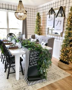 "Becky on Instagram: ""Dining Room Sources Post! Paper scrolls @printitengineer Pencil Cashmere Trees @walmart Baskets trees are in @kirklands (I cut the backs…"" Country Christmas, Christmas Holidays, Christmas Crafts, Christmas Mantels, Christmas 2019, Christmas Home, Merry Christmas, Christmas Interiors, Christmas Bedroom"
