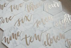 5 Hexagon Marble Table Numbers // Embossed // Hand