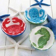 Mud Pie Sea Icon Ceramic Dip Bowls (Set of 3)