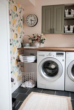 Brilliant to have a shelf with folding laundry baskets! How to make wood countertops in a laundry room inexpensively. Included tutorial for making a faux butcher block countertop with plywood! Small Laundry Rooms, Laundry Room Organization, Laundry Room Design, Laundry Decor, Laundry Baskets, Organization Ideas, Storage Ideas, Laundry Storage, Collapsible Laundry Basket