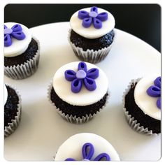 purple quilled fondant flowers // Candy Clay Cupcakes