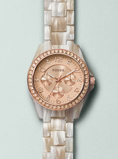 #Fossil RILEY Multifunction Pearlized Resin Watch - Shimmer Horn