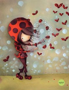 Ladybug girl, by Ketto Illustration Mignonne, Cute Illustration, Art Fantaisiste, Ladybug Girl, Art Mignon, Cute Clipart, Cute Images, Copics, Whimsical Art
