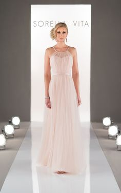 Sorella Vita blush pink chiffon bridesmaid dress