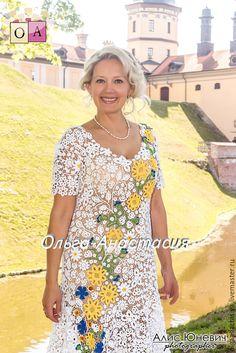 """Купить Платье""""Яркий летний день"""" авторская работа,модель 2 - белый, цветочный, платье летнее"""