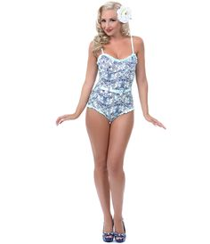 UniqueVintage Vintage Inspired Blue & Grey Floral Belted Swimsuit