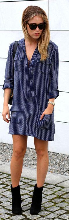 Equipment Blue And White Stripe Mini Tunic Dress