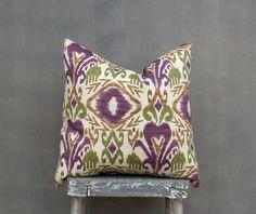 Ikat Pillow Cover Decorative Throw Pillow Outdoor Pillow Decor Pillow Brown Plum Olive Pillow Case Toss Pillow Accent Pillow, 18x18 Pillow -living room? $18