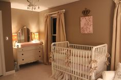 Neutral nursery for a baby girl...love the chalk paint dresser and has a daybed in addition to the crib