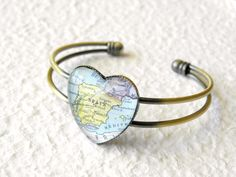World Traveler Map Heart Shaped Bangle by TheGreenDaisyShop, $20.00