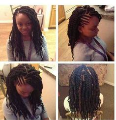 Senegalese twists with side cornrow