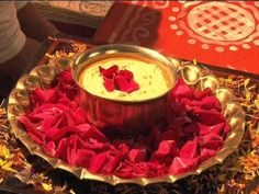 Haldi Ceremony (Preparing the bride and groom with sacred turmeric) Approximate Time: 1 hour, morning Recommended Dress code: Casuals The Haldi ceremony is like an ancient Indian spa ritual. Ramadan Decoration, Thali Decoration Ideas, Marriage Decoration, Desi Wedding Decor, Wedding Stage Decorations, Wedding Ideas, Wedding Venues, Hall Decorations, Wedding Bride