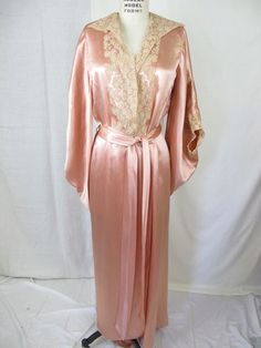 1930s Glamourous Silk Satin and Lace Night Gown Dressing Gown. Inspiration for Adèle's dressing gown