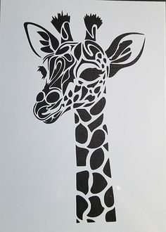 Stencil Schablone Textilgestaltung Airbrush Giraffe A 4 Stencil Printing, Stencil Templates, Stencil Patterns, Stencil Art, Stencil Designs, Screen Printing, Stencils For Painting, Stencil Graffiti, Henna Patterns