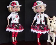 """SWEATER,SUNDRESS,HAT SET MADE FOR TONNER/WILDE PATIENCE&SIMILAR SIZE 14""""DOLL"""