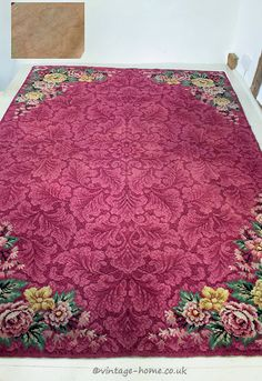 Vintage Home - 1930s Pink Roses and Foliage Wool Rug.