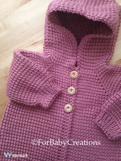 Plum-wine Rose Crochet Sweater with Hood Girl by ForBabyCreations