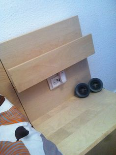 Ikea Hackers Socket In The Malm Nightstand Kind Of Too Easy To See Though Would Look Better Behind Little Shelf I Think